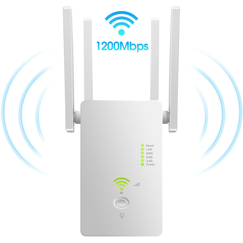 Wireless Wifi Repeater Router AC 1200Mbps 5.8GHz&2.4GHz Dual Band WiFi 4 Antenna Wireless Range Extender Signal Booster For Home