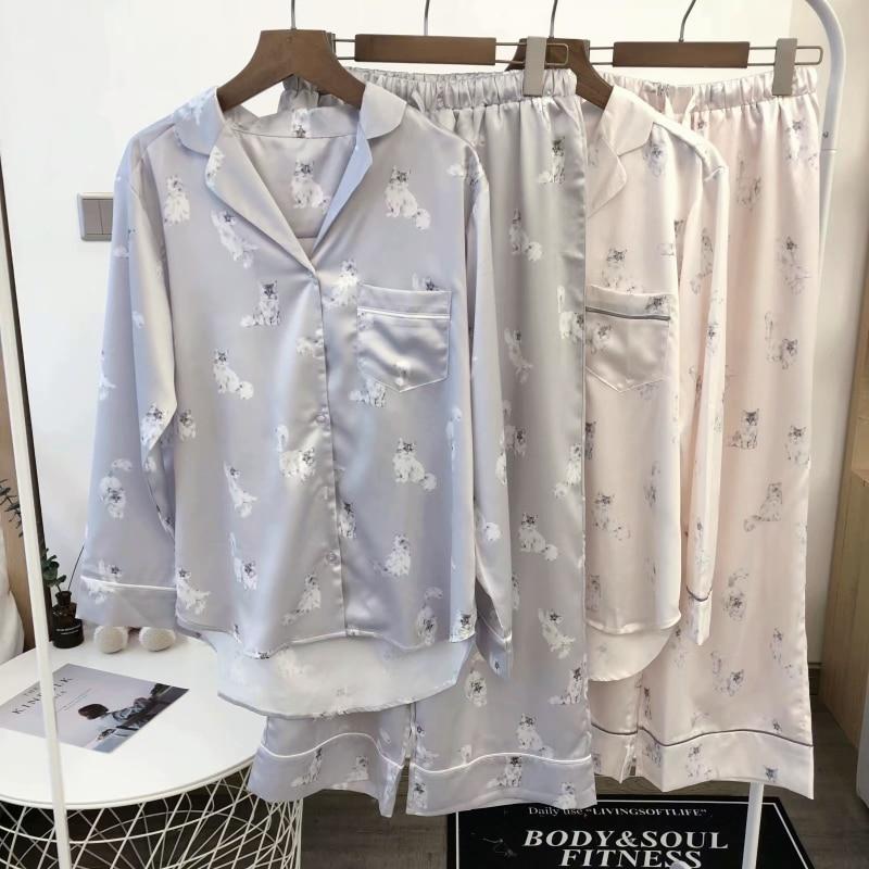 Japan GP Cat Printing Silk Pajamas Sleepwear Homewear