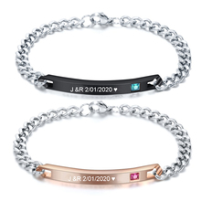 Customized Jewelry Free Engraving Couple Bracelets Stainless Steel Crystal Charm Bracelets For Women Men