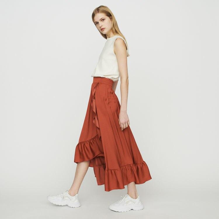 Women Skirt 2019 Spring and Summer Elegant Solid Color Ruffled Skirt