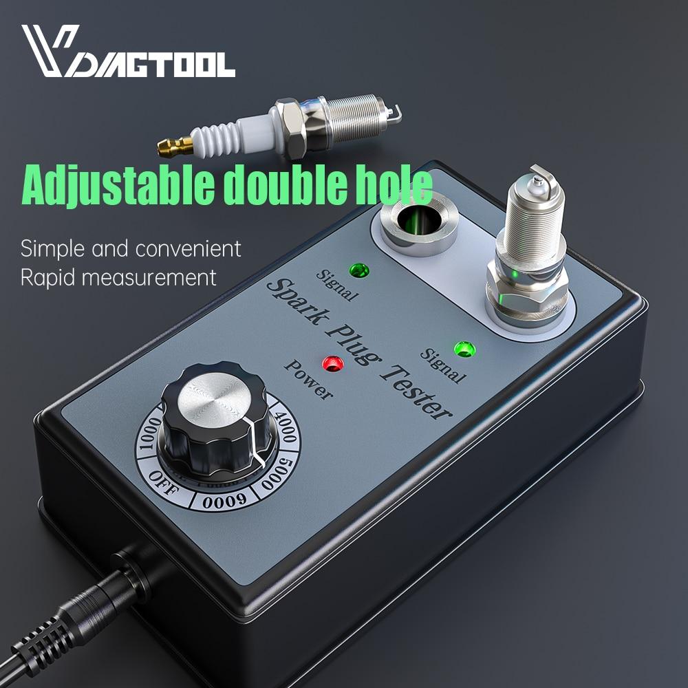 Vdiagtool Car Spark Plug Tester Automotive Diagnostic Tool Double Hole Detector 12V Gasoline Vehiles Ignition Analyzer