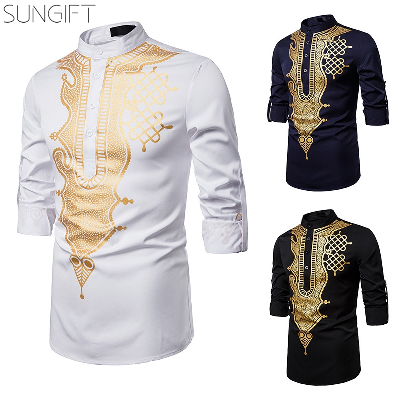 SUNGIFT African Style Standing Collar With Buttons Shirt For Men Casual Print Totem Shirt Adjustable Sleeves With Buttons