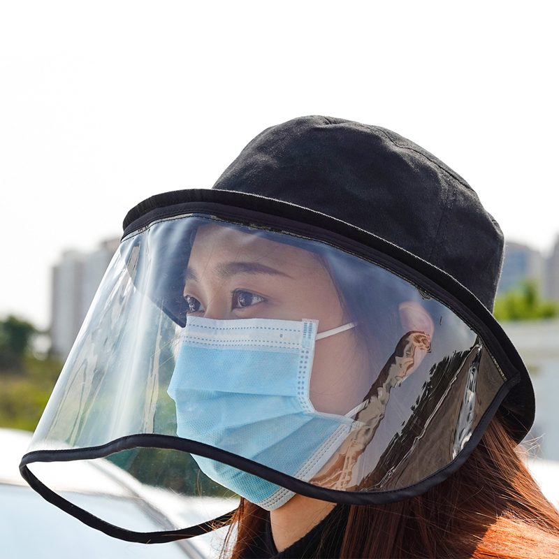 New Coronary Virus Protective Cap Eye Protection Bucket Hat  Anti-fling Fog Fisherman Hat Mask Anti-saliva Face Cover Caps
