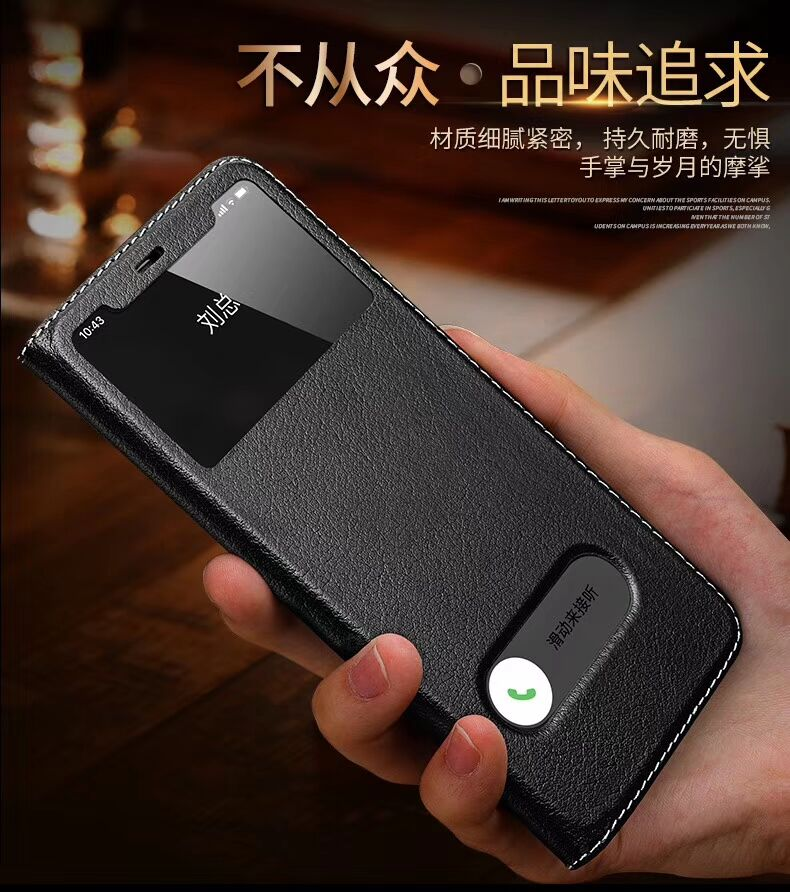Simple Business Luxury Flip Cowhide Leather Case For iPhone XS MAX XR X 6s 7 8 Plus Wallet window Cover man for iphone11pro max image