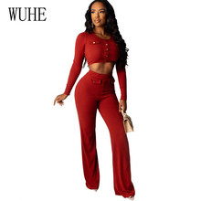 WUHE Red Long Sleeve Pit Sexy Jumpsuits Women Two Pieces Sets Button Bodycon Rompers Womens Overalls Casual Wide Leg Playsuits huti casual two pieces sets sweater knitted jumpsuits for women autumn womens long sleeve bodycon sexy playsuits solid overalls