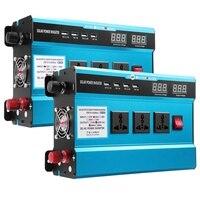 Inverter 3000W DC 12V/24V to AC 220V Dual LED Display 4 USB Voltage transformer Pure Sine Wave Power Inverter Converter Adapter