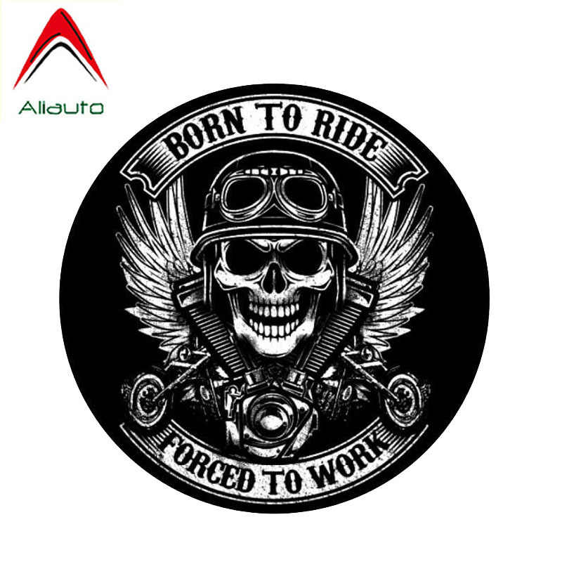 Aliauto Born To Ride Skull Car Sticker Funny Cover Scratches Decal Automobile Motorcycles Decoration Accessories PVC,12cm*12cm