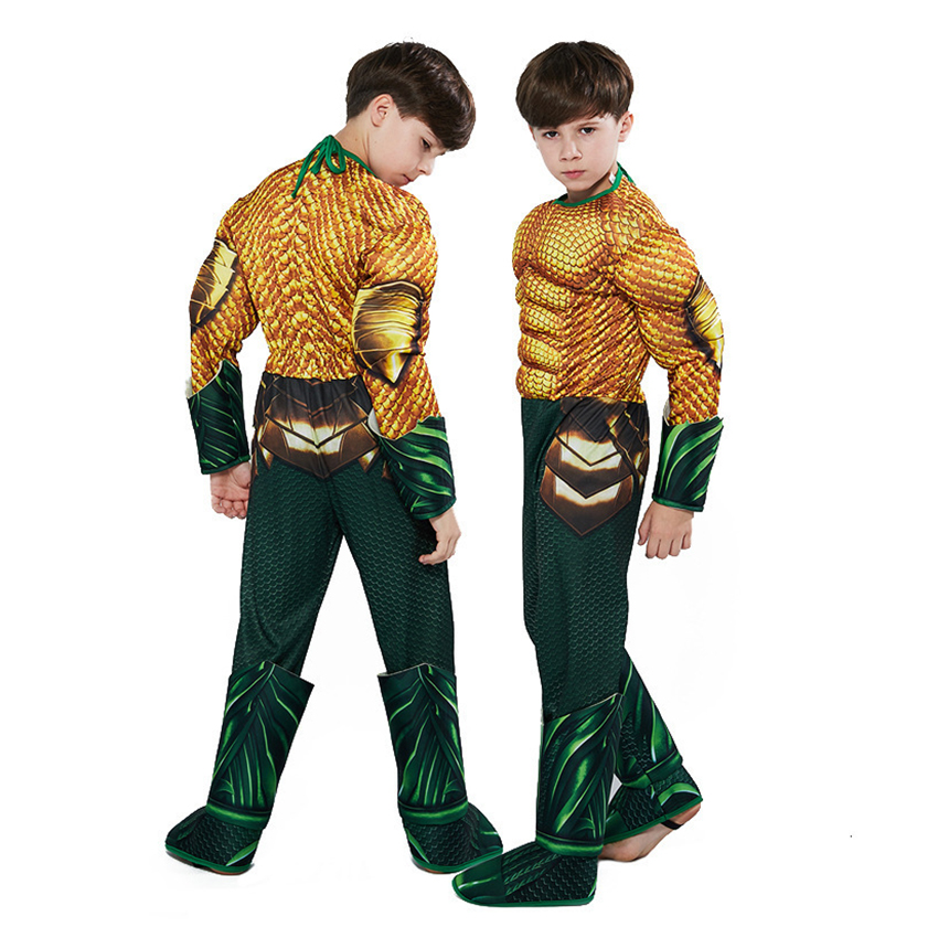 Aquaman Costumes for Kids Halloween Costumes for Kids Boys Muscle Sponge Superhero Costumes Aquama Cosplay Party Dress Jumpsuits 3