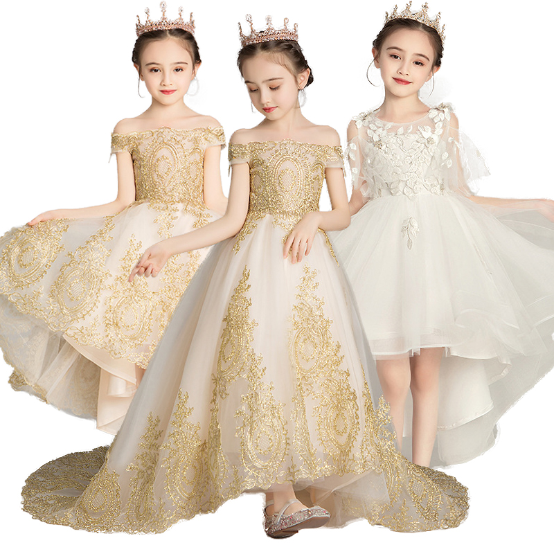 Girls Dress Princess Christmas Banquet Evening Dress New Flower Girl Dress Child Applique First Communion Party Vestido For Girl