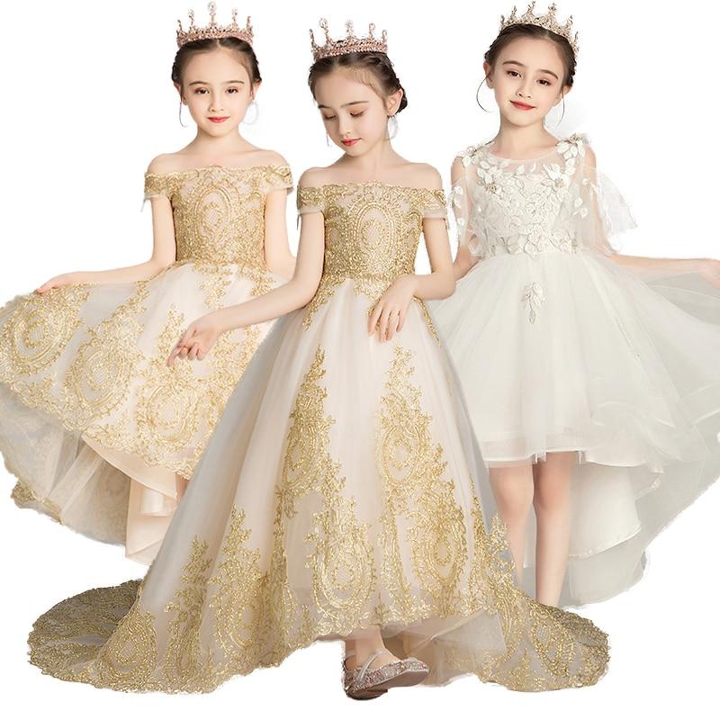 Girls Dress Princess Christmas Banquet Evening Dress New Flower Girl Dress Child Applique First Communion Party Vestido For Girl