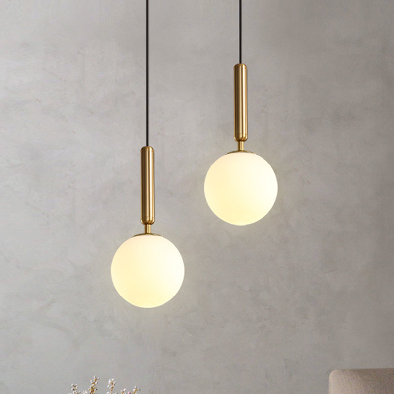Modern <font><b>Pendant</b></font> Lamp Luxurious Gold Glass Ball Lampshade Hanging <font><b>Lights</b></font> Fixtures For Dining Room Bedroom Decoration Lighting image