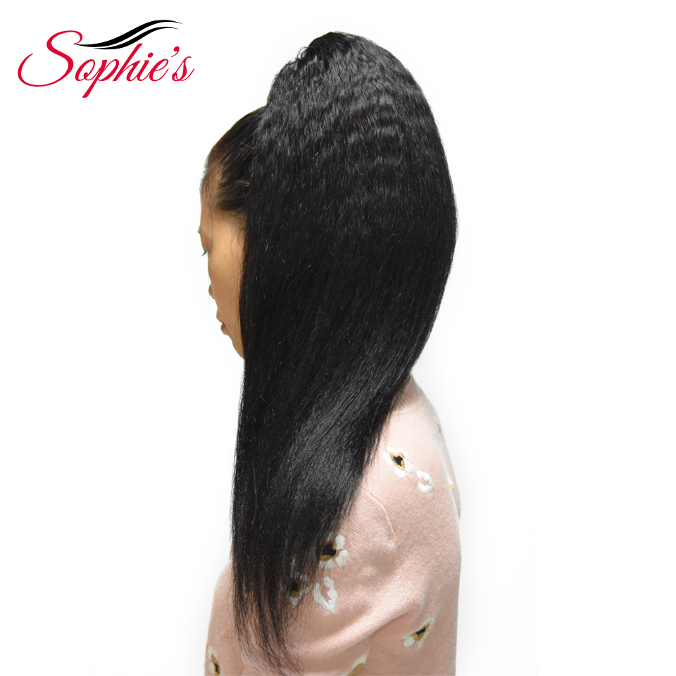 Sophie's Brazilian Kinky Straight Ponytail 100% Human Hair Drawstring Ponytail With Clips In For Women Non Remy Hair