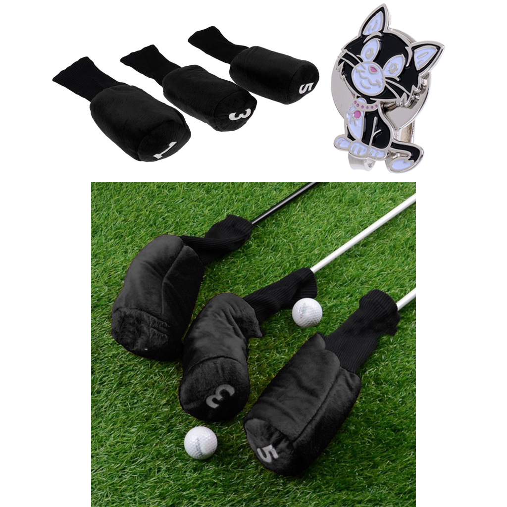 3pcs Golf Driver Wood Head Cover Long Neck Headcover & Ball Marker With Magnetic Hat Clip