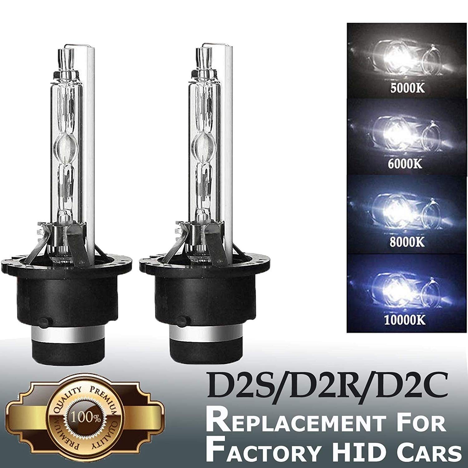 2Pcs <font><b>D2S</b></font> D2R D4S D2R Xenon 55W Bulbs for Car Headlight HID Bulb with Metal Bracket Protection 4300k <font><b>6000k</b></font> 8000k 10000k 12000k image
