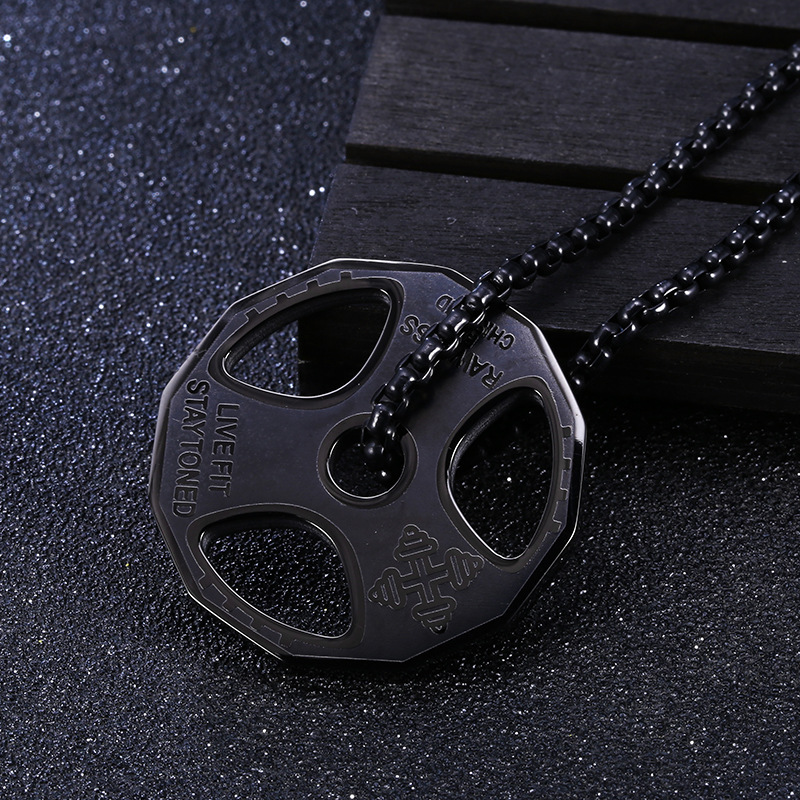 DUMBBELL BARBELL WEIGHT Necklace Weightlifting Gym Fitness Bodybuilding