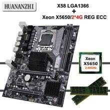 Huanzhi carte mère CPU X58, carte mère avec processeur Xeon X5650, 2.66GHz RAM 8 go (2x4G) REG ECC, garantie, 2 ans