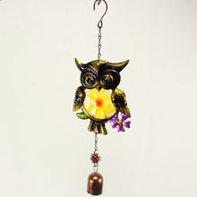 Iron Art Colorful Owl Wind-Bell Hanging Balcony Garden Home Decoration Crafts household supplies high quality(China)