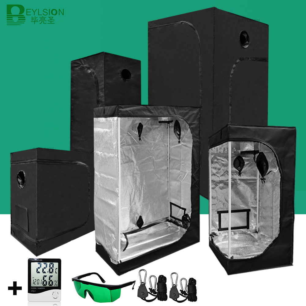 BEYLSION Grow Tent Hydroponics Tent Grow Light Parts Grow Box Dark Room Mylar For Growing Greenhouse Indoor Plant +Rope Ratchet