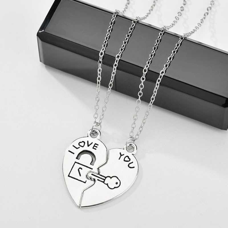 2 sztuk/zestaw para naszyjnik dla kobiet i mężczyzn dwa kawałki serce wisiorek w połączeniu klucz blokada liny naszyjnik walentynki dzień prezent