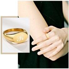 Anillo de compromiso con inicial personalizada para mujer, sortija de boda ovalada redonda de 9/14mm, letras monograma de acero inoxidable