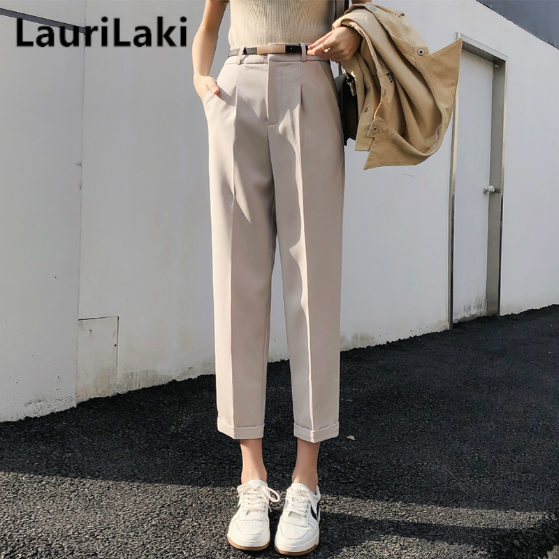 Elegant Ol Pants Women Solid Harem Straight Pants Mujer Black High Waist Trousers Vintage Spring Autumn 2019 Office Wear Pants