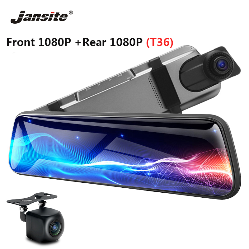 "Jansite 10"" Car DVR Touch Screen stream media 1080P Front Camera Dual lens Video Recorder Rear view mirror 24H parking Monitor"