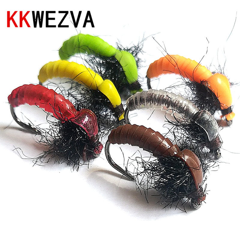 KKWEZVA 18PCS Color Silicone Material Sinking Nymph Scud Fly Bug Worm Trout Fishing Flies Artificial Insect Fishing Bait Lure
