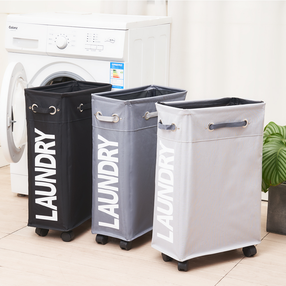 Shushi Foldable Laundry Hamper Printed Organizer Folding Laundry Rolling Cart Home Fabric Basket Classifier Slim Laundry Basket
