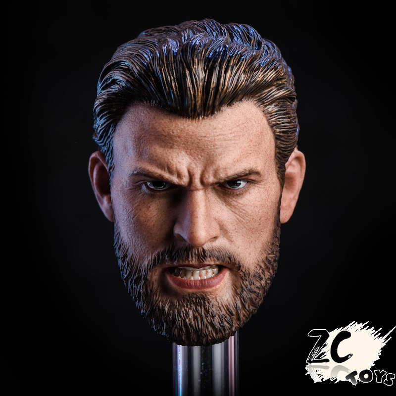 Zctoys <font><b>1/6</b></font> T07 Angry Edition <font><b>Bearded</b></font> Captain Head Carving in stock image