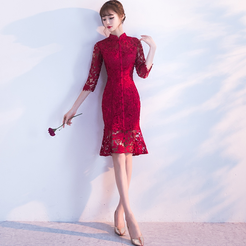 Spring-Evening-Party-Gowns-Qipao-Traditional-Chinese-Women-Wedding-Dress-Slim-Red-Lace-Half-Sleeve-Mandarin