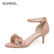 NUHEEL women's shoes summer new fashion bow sandals shallow mouth word buckle thin heel tide shoes women