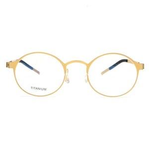 Image 4 - טהור בעבודת יד טיטניום משקפיים מסגרת גברים בציר עגול לא בורג Eyewear מרשם אופטי מותג משקפיים מסגרת נשים