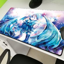 Yuzuoan Popular anime Hatsune future mousepad game mouse pad keyboard computer padmouse cute natural rubber  lockedge mat