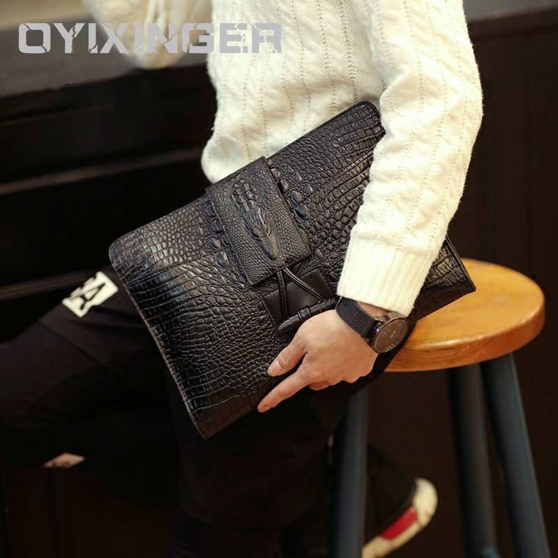 "Office Bags For Men And Women Leather Bags Trend Crocodile Grain Hand Bag Male Briefcase For 9.7"" IPAD A4 File Carteras Hombre"