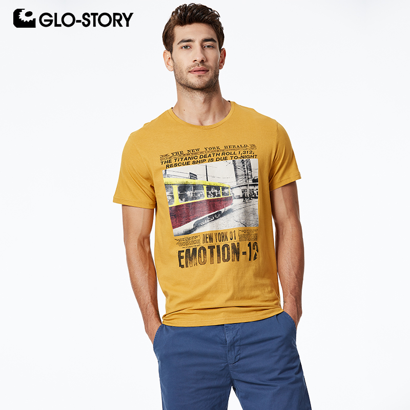 GLO STORY 2019 Summer Men 39 s Casual Print Short Sleeve T Shirts 100 Cotton European Style Street wear Tops For Male MPO 8681 in T Shirts from Men 39 s Clothing