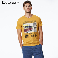GLO-STORY 2019 Summer Men's Casual Print Short Sleeve T-Shirts 100% Cotton European Style Street wear Tops For Male MPO-8681 цена