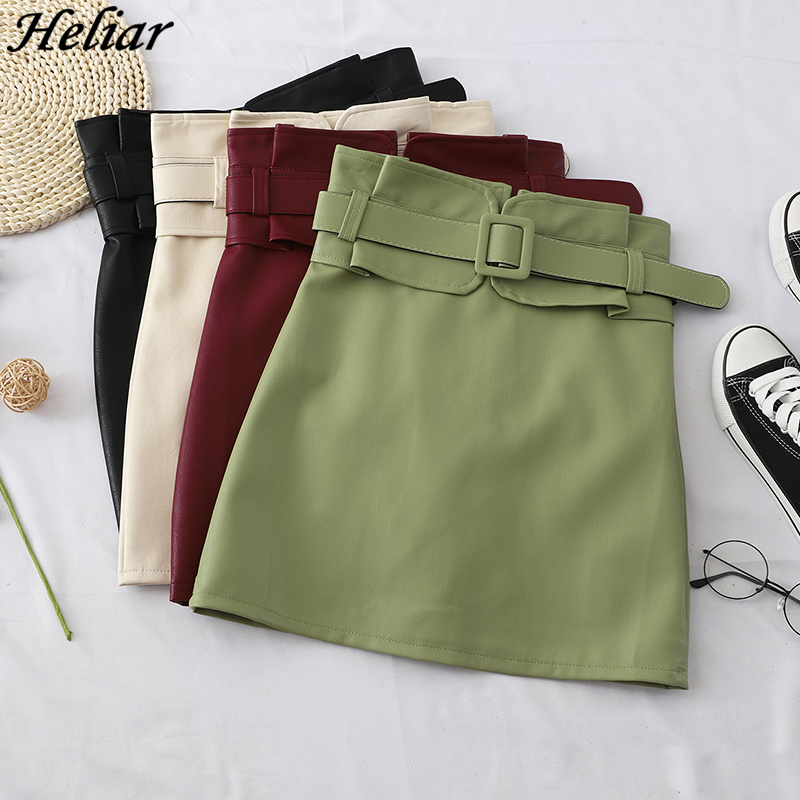 HELIAR PU Leather Bodycon Skirts With Waist Belt High Waist A-line Mini Skirts Highstreet Skirts 2019 Autumn Female Skirts Women