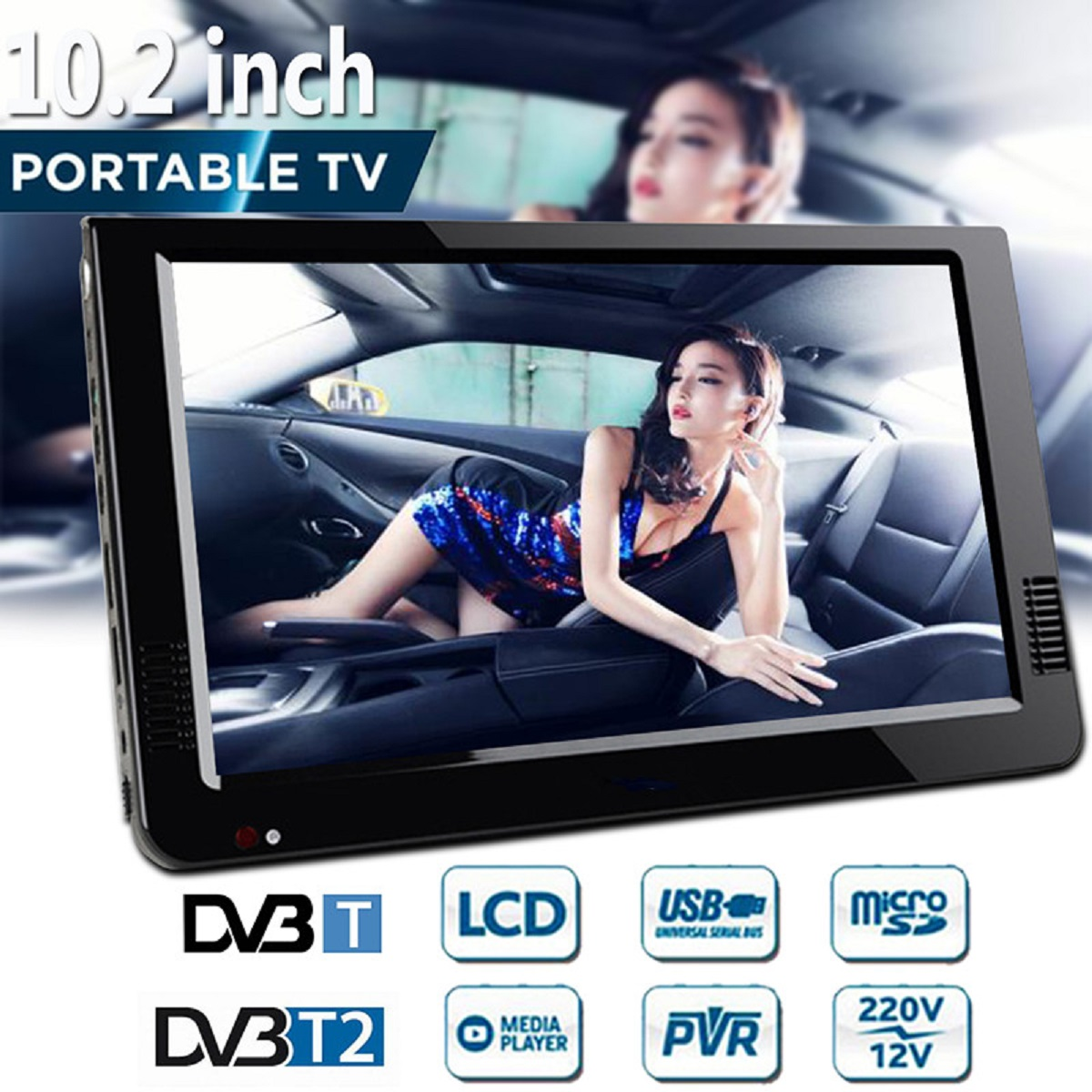10.2 Inch 12V Portable Digital Analog Television DVB-T / DVB-T2 TFT LED HD TV Support TF Card USB Outdoor Audio Car Television