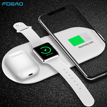 FDGAO 3 in 1 Qi Wireless Charger Pad for iPhone 11 pro X XS Max XR For Apple Watch 5 4 3 2 Airpods Pro 15W Fast Charging Station