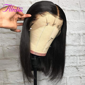 Alishes Short Bob Wigs Lace Front Human Hair 150% Density 13x4 Lace Frontal Bob Wig For Women Brazilian Straight Wigs Remy Hair panda 13x4 kinky curly lace front human hair bob wigs brazilian remy 150% density human hair lace front bob wigs for black women