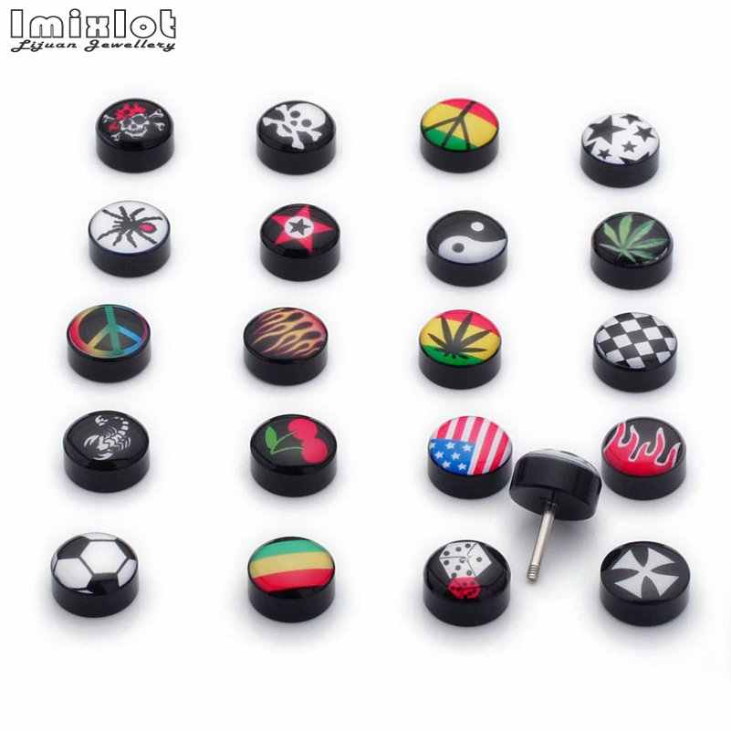 Fake Ear Plug Acrylic Ear Stud Earrings Women Men Fake Piercing Expander Tunnel Ear Plugs Brincos Body Percing Jewelry 2Pcs