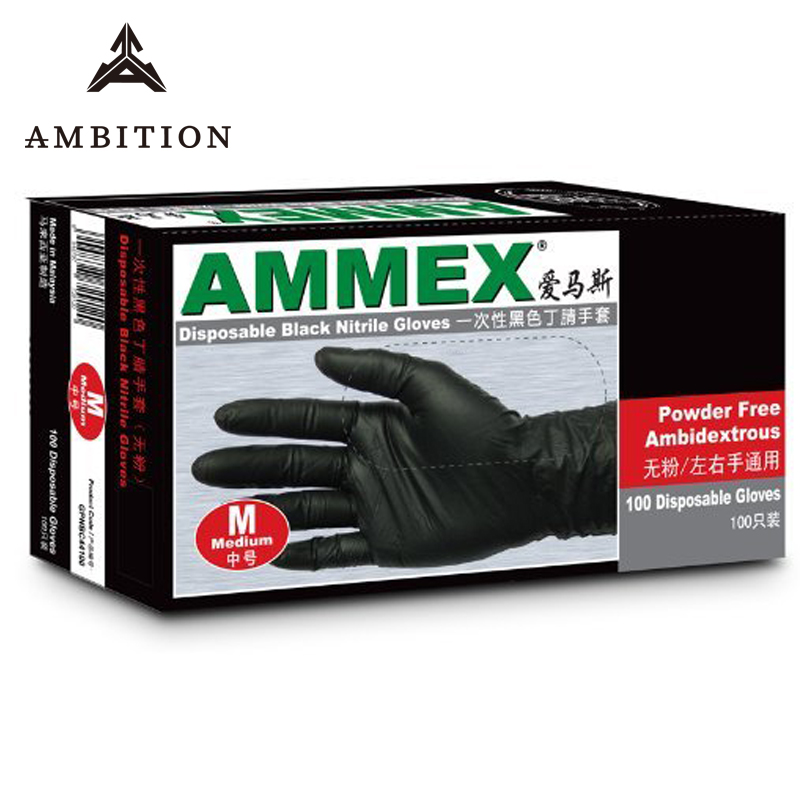 Ambition Nitrile Gloves Black 100pcs Food Grade Waterproof Allergy Free Disposable Work Safety Gloves Nitrile Gloves Mechanic