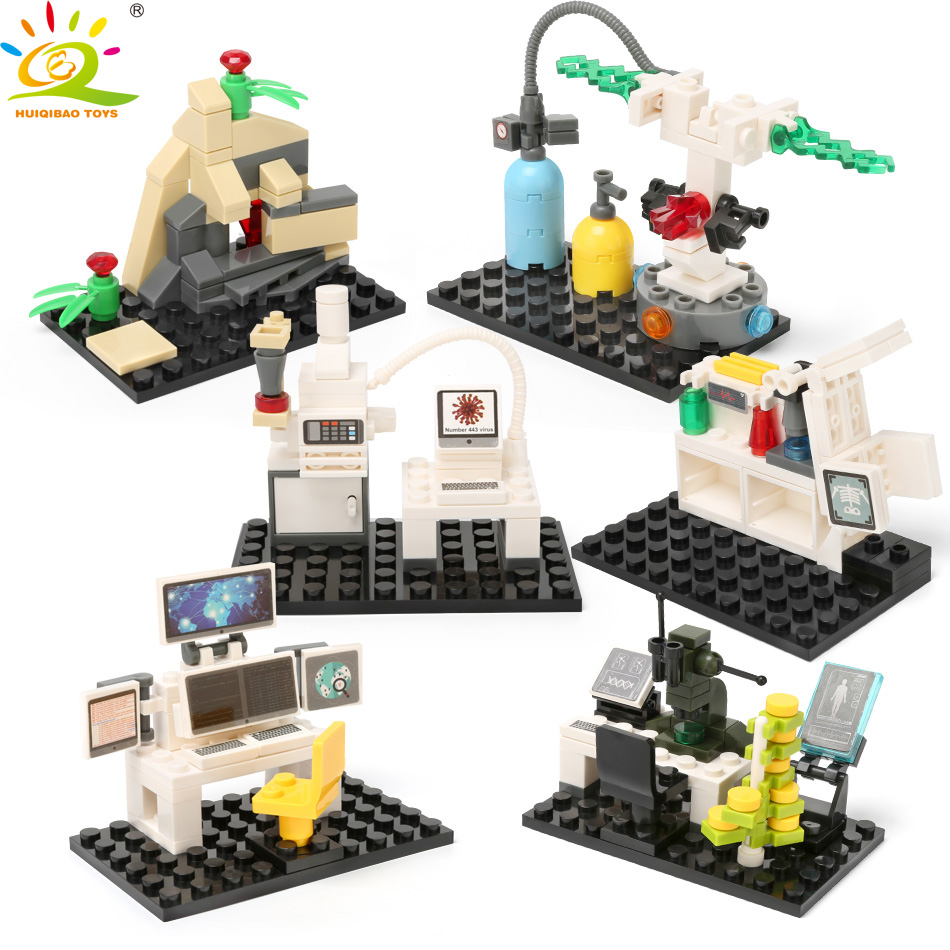 Building Blocks Bricks Mini Sport Science Robot Research Laboratory Figure Set