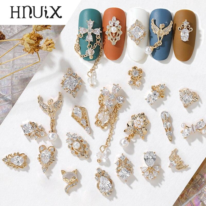 HNUIX 2 шт. 3D металлические ювелирные изделия из циркона для дизайна ногтей японские украшения для ногтей высококачественные циркониевые крис...
