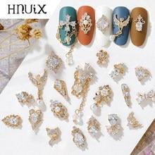 Hnuix 2pc 3d metal zircão arte do prego jóias decorações de unhas japonês qualidade superior zircão cristal manicure zircão diamante encantos