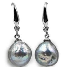 11mm Similar barroco natural surco cultivado gris perla pendiente cuelga