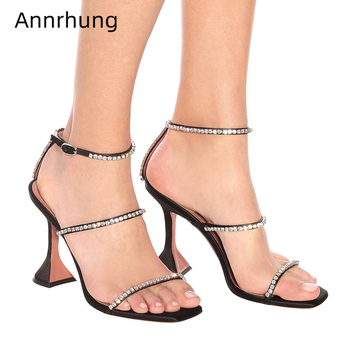 Chic Summer Jeweled One-Strap Sandals Women Square Open Toe Sexy Goblet Heel Rhinestone Party Shoes Woman Zapatos Mujer