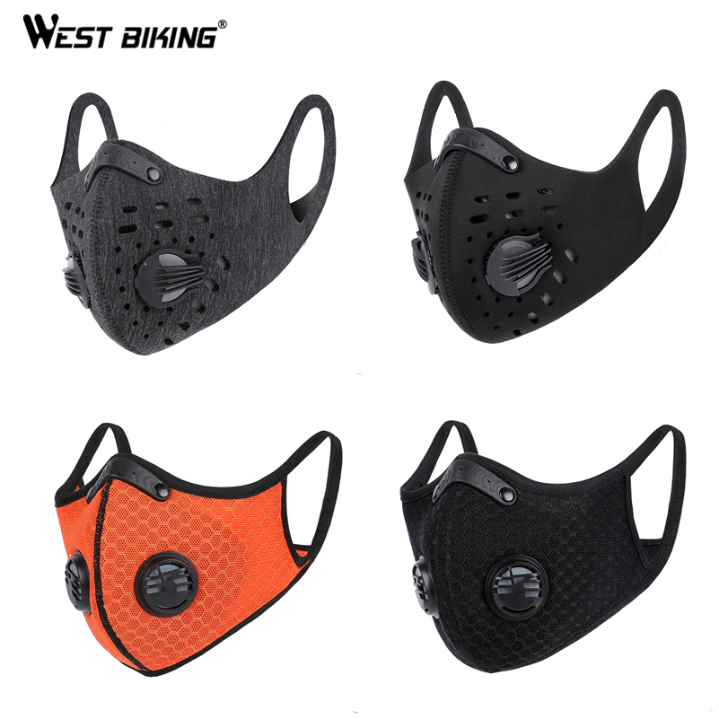 WEST BIKING Bicycle Face Masks With Filter Anti-spray Anti Dust Sport Training Mask Activated Carbon Washable PM2.5 Running Mask