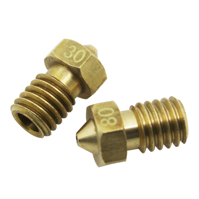 3d Printer Nozzle All-metal V6 M6 Screw Brass 0.2mm 0.25mm 0.3mm 0.4mm 0.5mm 0.6mm For 1.75mm Consumables 5pcs