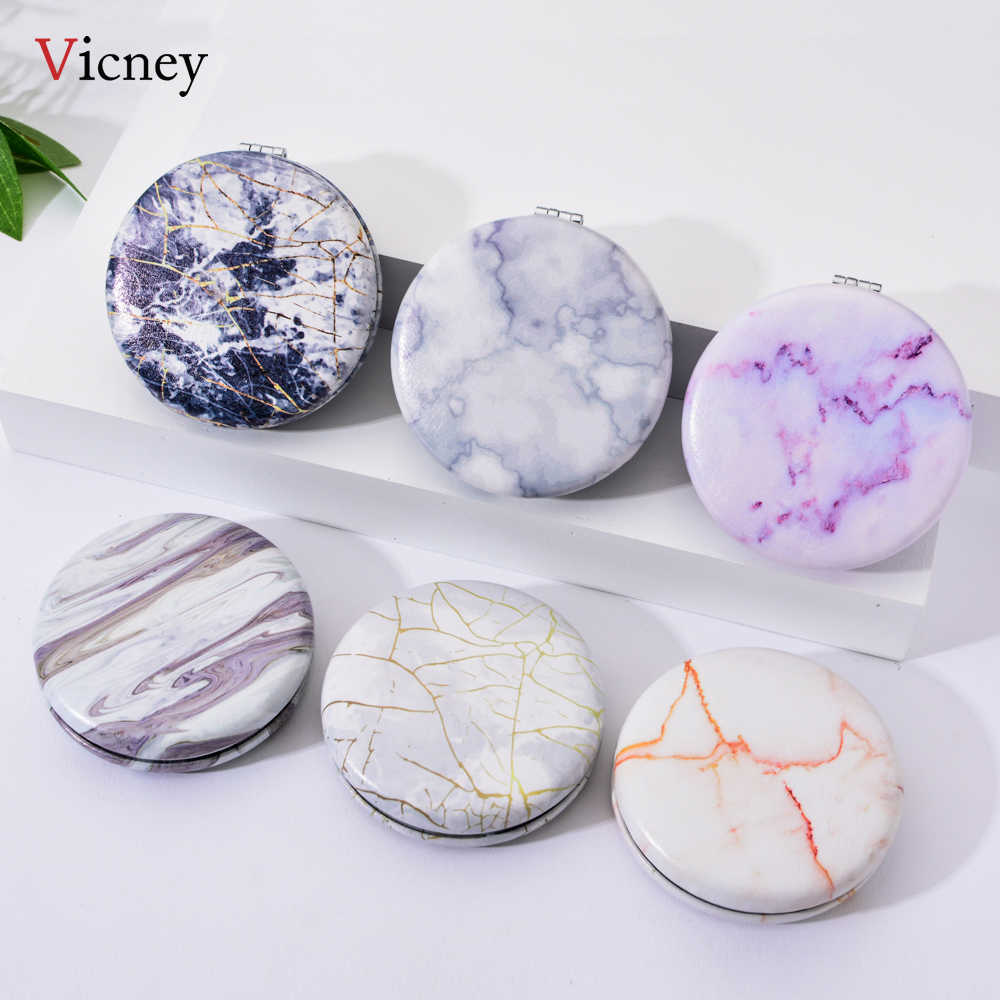 Vicney 2019 New arrival Fashion classic Portable Double Sided Mirror Fresh Simple Pocket Makeup Mirror Cosmetic Compact Mirrors